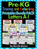 PRESCHOOL Alphabet Worksheets- BUNDLE PACK (A-I) Tracing, coloring & recognition