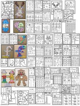 PRESCHOOL Alphabet Worksheets- BUNDLE PACK (A-I) Tracing, coloring & recognition