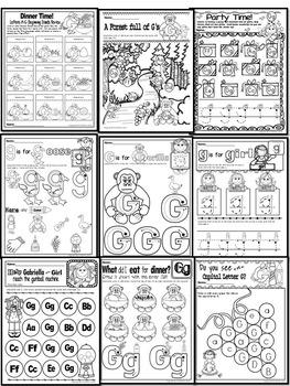 Pre-KG Alphabet Worksheets- LETTER Gg Printables-Tracing, coloring & recognition