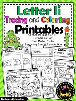 Pre-KG Alphabet Worksheets- LETTER Ii Printables-Tracing, coloring & recognition