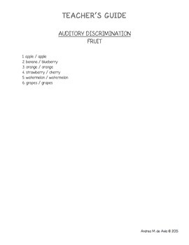 Pre-K/K Auditory Discrimination Teacher Guide