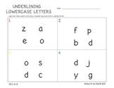 Pre-K/K Underlining Lowercase Letters Worksheets
