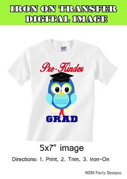 Pre Kinder Grad, Preschool DIY Iron on Transfer, Digital BLUE  Instant Download