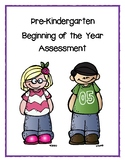 Pre-Kindergarten Assessment - Beginning of the Year - Basic Assessment - FREEBIE