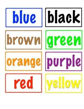 Pre Kindergarten Color Word Matching