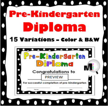 Pre-Kindergarten Diploma  - End of Year Award - Certificate
