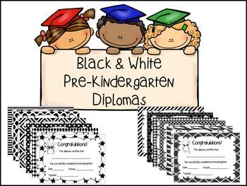 Pre-Kindergarten Diplomas - Black & White