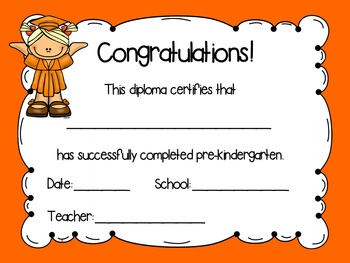Pre-Kindergarten Diplomas - Solid Colors