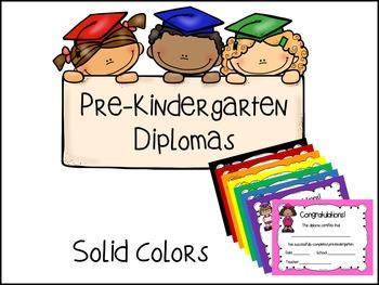 Pre-Kindergarten Diplomas - Solid Colors