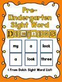 Pre-Kindergarten Sight Word Dominoes Game