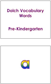 Pre-Kindergarten Dolch Vocabulary Sight Words PowerPoint and Flash Cards #1