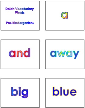 Pre-Kindergarten Dolch Vocabulary Sight Words PowerPoint and Flash Cards #2