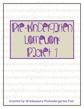 Pre-Kindergarten Homework Packet 1