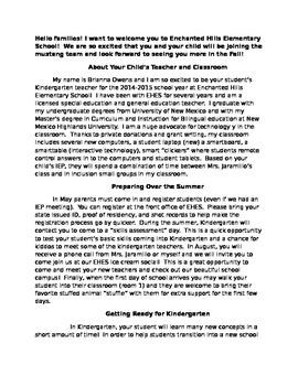 Pre-Kindergarten Letter