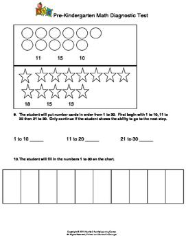 Pre-Kindergarten Math Diagnostic Test