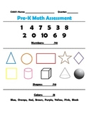 Pre-Kindergarten Numbers, Shapes, & Color Assessment FREEBIE!