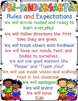 Pre-Kindergarten Rules and Expectations