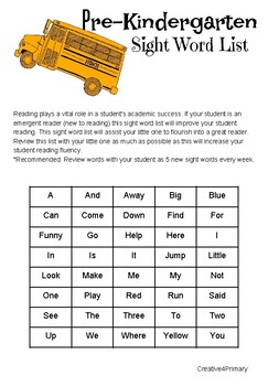 Pre-Kindergarten Sight Word List! (Emergent Readers)