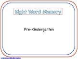 Pre-Kindergarten Sight Word Memory