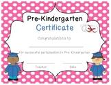Pre-Kindergarten certificates