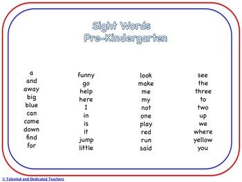 Pre-Kindergarten to Third Grade Sight Word Memory