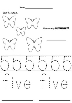 Pre Kinders - Counting and Tracing Number 5 by Sandra TCS ...