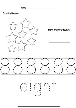 Tracing The Number 8 Worksheets & Teaching Resources | TpT