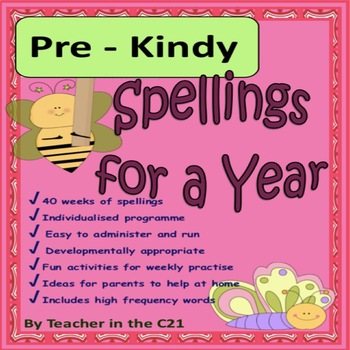 Pre - Kindy - Spellings for a Year {Spellings and activities for 4 year olds}