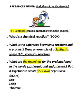 Pre-Lab Exothermic vs. Endothermic reactions