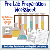 Pre Lab Worksheet for any Science Lab