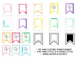 Pre-Made and EDITABLE Watercolor Pennant Banners