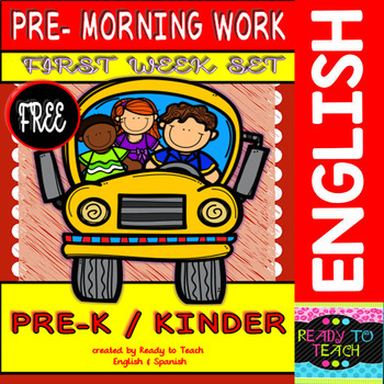 Pre - Morning Work FREEBIE (Sheets for the first week of Kindergarten)