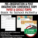 Pre-Observation and Post-Observation Conference Print and Google Form