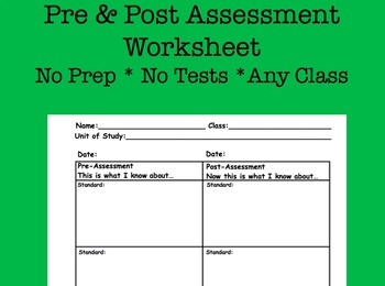 Pre & Post Assessment Chart Blank