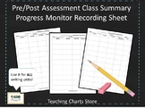 Pre/Post Assessment & Progress Monitor Recording Sheet for Writing Workshop