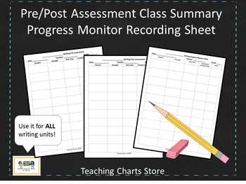 Pre/Post Assessment & Progress Monitor Recording Sheet for