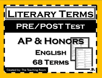 Literary Terms Pre/Post Test  (AP & Honors English)
