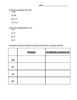 Pre & Post Test for Algebra