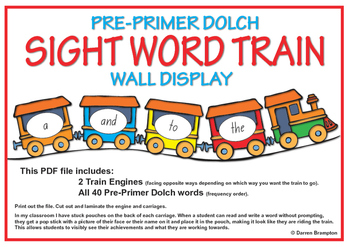 Pre-Primer Dolch Sight Word Train Wall Display (43 pages)