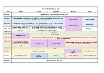 Pre Primary Class Timetable