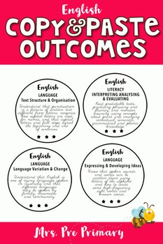 Pre Primary Quick Copy & Paste English Outcomes