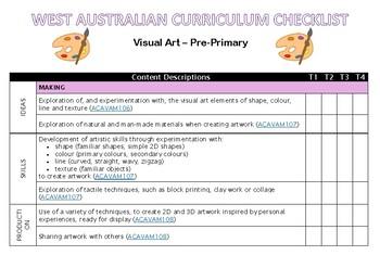 PRE-PRIMARY Visual Art Western Australian Curriculum Checklist