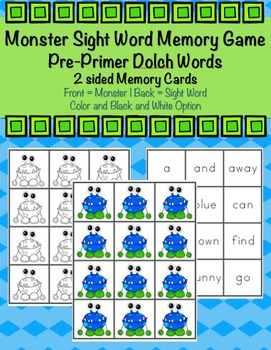 Pre-Primer Sight Word Monster Memory Game