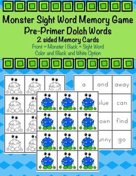Pre-Primer Sight Word Monster Memory Game