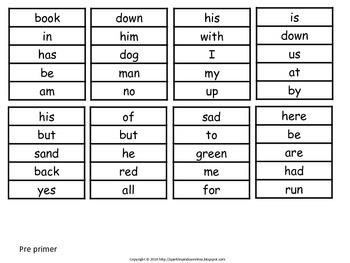 Pre Primer- 4th Grade Sight Word Cards