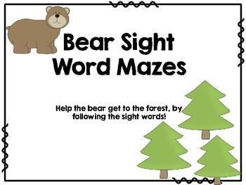 Pre Primer Bear Sight Word Mazes