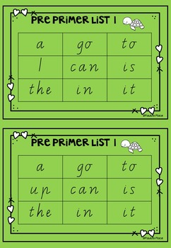 Pre Primer Bingo Boards Vic Font
