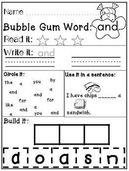 Pre-Primer Bubble Gum Sight Words