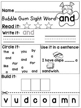 Pre-Primer Bubble Gum Sight Words *FREEBIE*