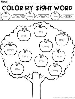 Pre-Primer Color by Sight Word: Apples